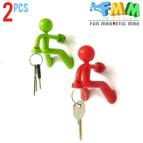 Fun Magnetic Man | 2pc Cute Fun Safe Sturdy Multi Use Key Holder with Wall Climbing Man Design for Office Home Gift/Decoration | Anti Slide Reinforced Legs Ultra Strong Magnet - Plastic Man Pilot