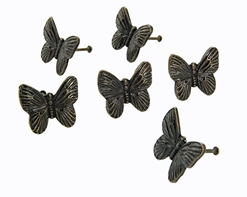 Knob Butterfly Drawer (Dritz Home 47063A Cast Iron Butterfly Knob Handcrafted Knobs for Cabinets & Drawers)
