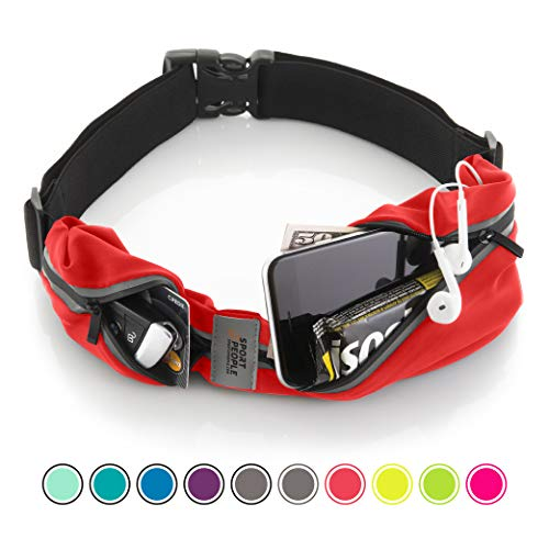 Running Belt USA Patented - Fanny Pack for Hands-Free Workout - iPhone X 6 7 8 Plus Buddy Pouch for Runners - Freerunning Reflective Waist Pack Phone Holder - Fitness Gear Accessories (Red-black)