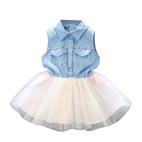 Muxika Toddler Baby Kid Girl Princess Party Denim Sleeveless Tulle Tutu Dresses (2/3T, Light Blue) (Pleated Denim Jacket)
