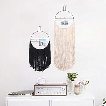 DFHSG Decoración nórdica de la Pared del hogar Tapiz Tejido círculo de Hierro Forjado decoración Suave Colgante Tapiz Simple