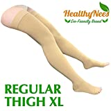 HealthyNees Thigh Open Toe 20-30 mmHg Compression Grade Over Knee Length Big Calf Extra Wide Plus Tall Size Leg Stocking Circulation Swelling Socks (Beige, Regular Thigh XL)