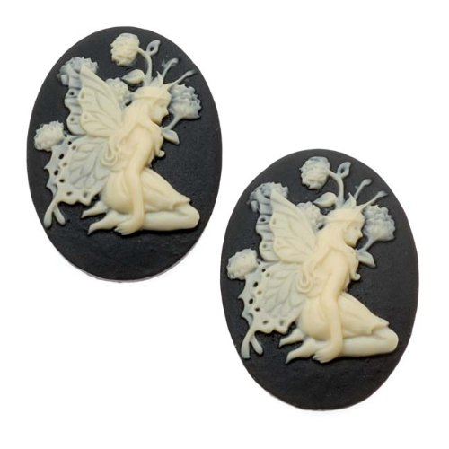 Oval Cameo - Black With Ivory Fairy And Flowers 25x18mm (2 Pieces) (Lucite Cameo Bead)