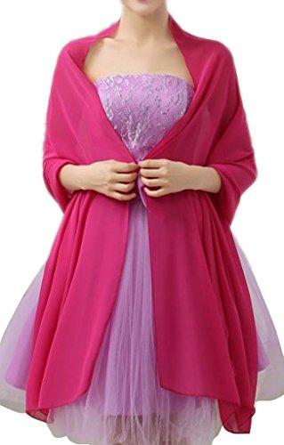 Alivila.Y Fashion Organza Soft Long Wrap Scarf Shawl-Hot Pink Chiffon-1669