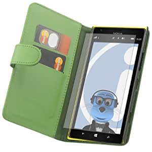 Cerhinu iTALKonline Nokia Lumia 1520 PU Leather GREEN Executive Flip Wallet Book Case Cover with Credit / Business Card...