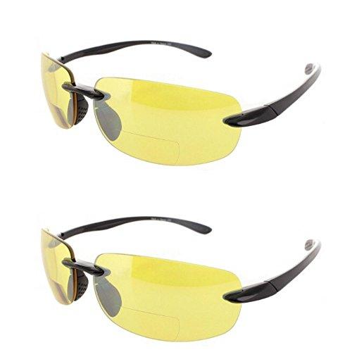 2 Pair of Rimless Bifocal Style - Yellow/Yellow Lens (+1.50 - Glasses Driving Bifocal