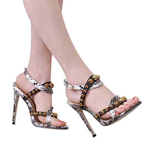 ERLOU Spring-Summer Women Ladies Snake Pattern Belt Buckle Rivet Casual High-Heel Sandals Shoes Fashion 2019❤ (6.5, Yellow)