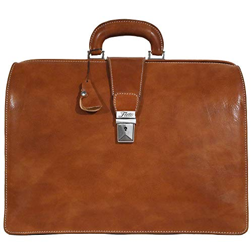 Floto Ciabatta Italian Leather Briefcase Attache (Olive (Honey) Brown)
