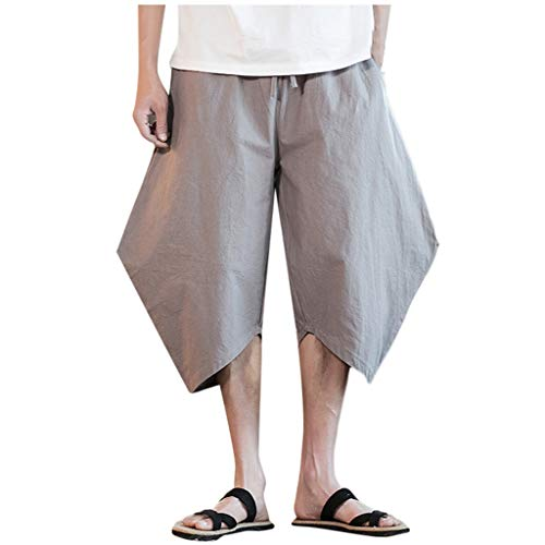 Allywit Men's Creative Trousers Linen Style Loose Casual Breathable Outdoor Solid Sportswear Plus Size Gray