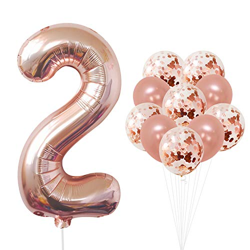 KatchOn Rose Gold Number 2 Balloon - foil Mylar Rose Gold Balloons Party Decorations Rose Gold Party Supplies for Engagement Birthday Baby Shower Wedding 32 Foot Balloons String ()
