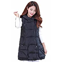 Women's Hooded Vest Winter Zip up Waistcoat Padded Down Sleeveless Long Coat