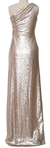 MACloth Women Gown Sequin Dress Formal 2017 Long Champagner Evening Shoulder Bridesmaid One TOrAT