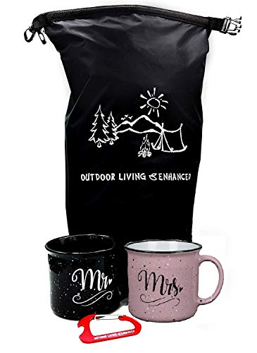 Mr and Mrs Couples Camping Pack Ceramic Coffee Mug Set - Unique Wedding Gift For Bride and Groom - His and Hers Anniversary Present Husband and Wife - Engagement Gifts For Him and Her (Mrs & Mrs Mugs)