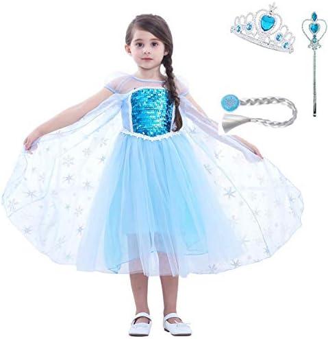 LiUiMiY プリンセスドレス 子供用 コスチューム 雪柄 女の子 キッズ お姫様 コスプレ 仮装 発表会 入園式 お誕生日 パーティー 3点セット(ティアラ・魔法の杖・三つ編みウィッグ付き)アイスブルー