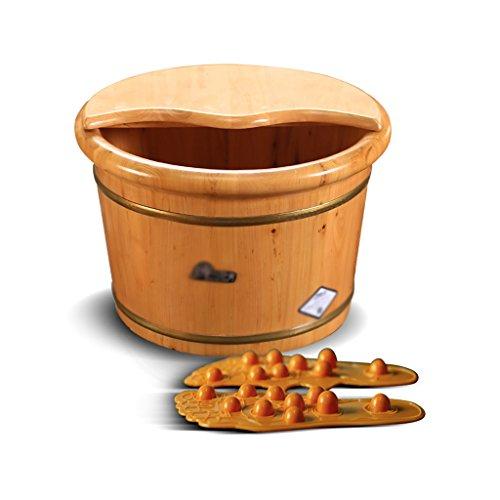 Wei Hong Home Foot bath bucket Wooden foot bath bucket with lid (Color : Wood color, Size : 31.52638cm) (Bath Wood Bucket)
