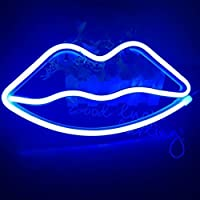 Neon Light,LED Lip/Kiss Sign Shaped Decor Light,Wall Decor for Christmas,Birthday Party,Kids Room, Living Room, Wedding Party Decor