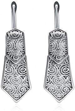 megko Vintage Tibetan Silver Personalied Arrow Coin Embossed Dangle Drop Hook Earrings
