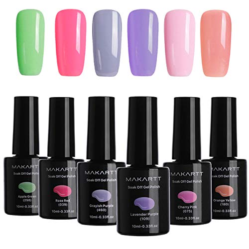 MAKARTT 6PCS 10ML Gel Nail Polish Kit Sweet Bright Color Series Soak Off UV LED Nail Gel Polish P-03