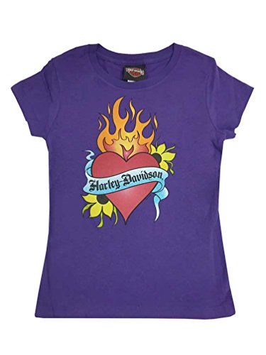Girls Biker Shirts - Harley-Davidson Big Girls' Burning Heart Logo Short Sleeve Youth Tee Purple (XS)