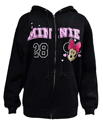 Disney Adult Women's Minnie Mouse Zip Up Hoodie Jacket (S, Black 2) (Disney Jackets For Adults)