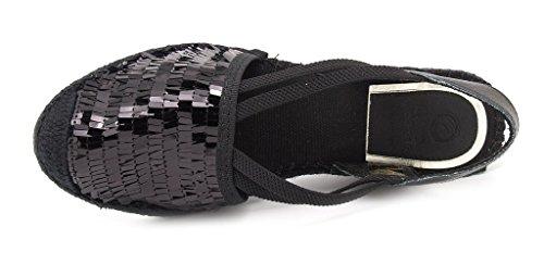 Nero 2 cm platform valenciana gomma zeppa corda donna e pelle 5 tessuto cm Lux 5 alta 7 Vidorreta battuta sottopiede espadrilles suola 5 O7aqwBxB