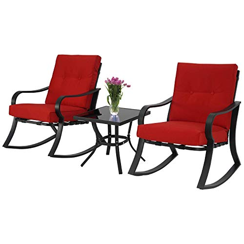 BonusALL Outdoor 3 Pieces Patio Furniture Bistro Set Rocking Chairs,Black Steel and Glass-Top Coffee Table with Red Thick Cushion