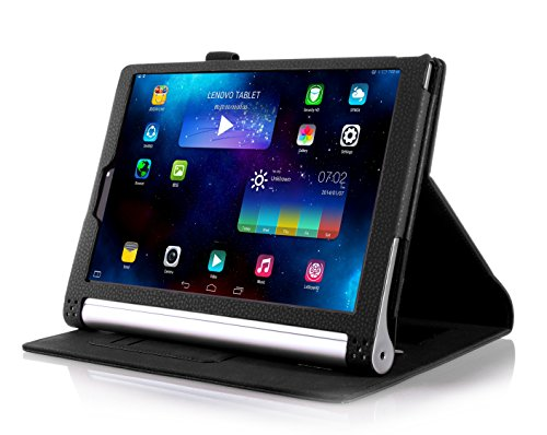 VSTN® Lenovo Yoga Tablet 2 10 inch tablet PU case - Multi-Angle Stand Slim-Book PU Leather Cover Case with Hand Strap&Card Holder for Lenovo Yoga Tablet 2 10 inch tablet, Only fit Lenovo Yoga Tablet 2 10 inch tablet. (Black)