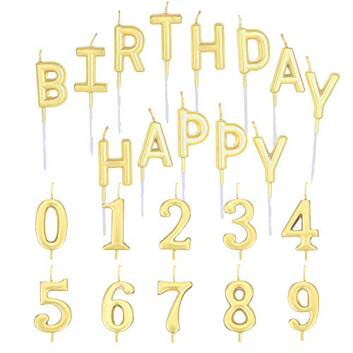 Trounistro Happy Birthday Cake Candles Number Candles Happy Birthday Letter Candles Cake Topper Decoration for Birthday Favor