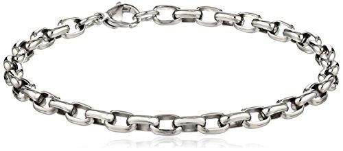 5mm Rolo Link (Men's Stainless Steel 5mm Rolo Chain Bracelet, 8