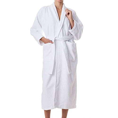 Unisex Terry Cloth Robe - 100% Long Staple Cotton Hotel/Spa Robes - Classic Robes For Men or Women,White,Medium
