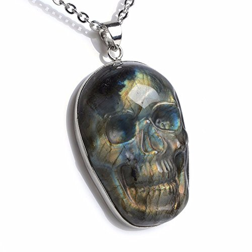 Natural Flashy Labradorite Gemstone Carved Skull Pendant for sale  Delivered anywhere in USA