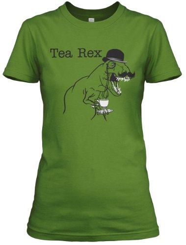 Crazy Dog TShirts - Women's Tea Rex T Shirt Funny Sarcastic Dinosaur Gentleman Monocle Tee - Camiseta Para Mujer