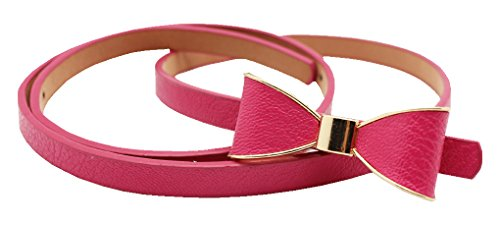 FAD Candy Synthetic Leather Women Skinny Butterfly Bow Waist Belt Waistband (rose) (1.5 Cm Leather Belt)