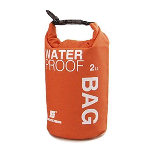 WINGONEER Waterproof Bag, Waterproof Case for Swimming, Surfing, Fishing, Boating, Skiing, Camping and Other Outdoor Sports, Protest Your Personal Item Against Water, Rain, Snow and Sweat - 2L Orange