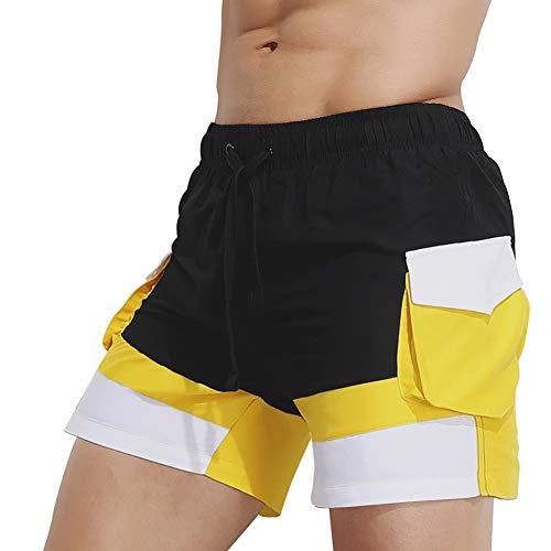 Alalaso Men's Beach Swimming Trunks Boxer Brief Swimsuit Swim Underwear Boardshorts with Pocket