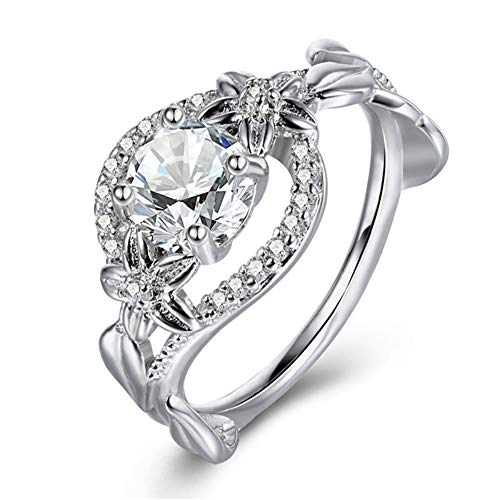 (MILIMIEYIK Crystal Rings for Women Silver Plated Heart Shape Stone Ring, Charm Engagement Ring)