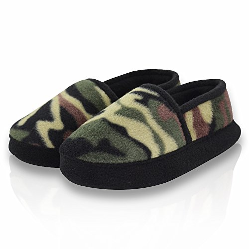 Image of LA PLAGE Boy/Little Kid Winter Warm Cozy Camouflage Comfy Plush Indoor Slip-on Slippers with Hard Sole