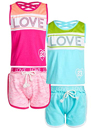 dELiA*s Girl\\\'s 4-Piece Fashion Active Short Sets, Love One, Size -