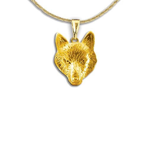 14 Karat Gold Costume (14k Gold Wolf Pendant by The Magic Zoo)