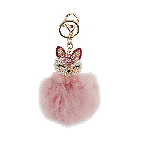 Cute Rabbit Hair Fur Pleated Pearl Inlay Fox Head Charm Key Chain Jewellery Connector Pompoms Ring Hanging Clip Hook Carabiners for Women Lady Girls Handbag, Car Bedroom Cellphone Pendant ()