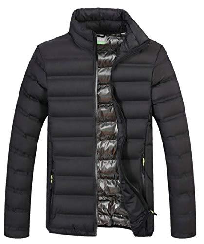 security Men's Down Jacket Stand-Neck Zipper Warm Winter Thick Coat Outwear Black