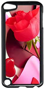 Single Rose & Paper Hearts Black Plastic Decorative iPod iTouch 5th Generation Case