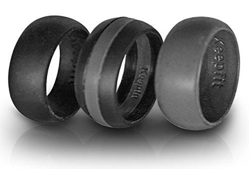3 Silicone Wedding Ring Silicone Wedding Band for Men Thin Line (Grey Stripe, 10)