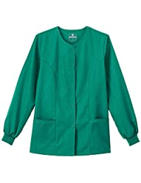 F3 Fundamentals By White Swan Women's Snap Front Warm Up Solid Scrub Jacket X-Small Hunter Green