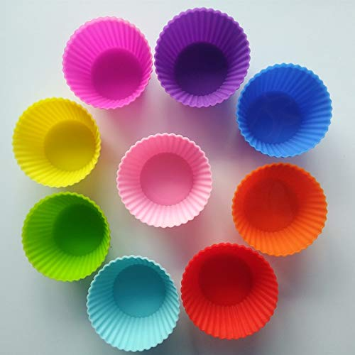 Silicone Bakeware Case - Silicone Cupcake Liners Cupcake Liners Mold 12Pcs 6 Colors Round Silicone Muffin Box Cups Cake Case Tool Bakeware Baking Cupcake Tools Kitchen Gadgets