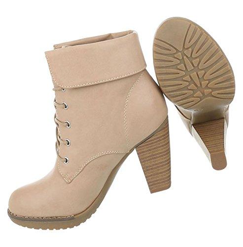 Damen Schuhe Stiefeletten High Heels Schnürer Boots Beige