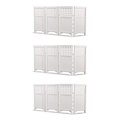 Suncast Outdoor Garden Yard 4 Panel Screen Enclosure Gated Fence, White (3 Pack)