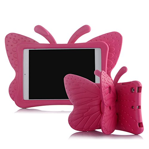 iPad mini Case,Kids Friendly Non-toxic Light Weight 3D Cute Cartoon Butterfly Design Shockproof Drop-proof EVA Foam Stand Tablet Case Cover for Apple iPad mini 1/2/3/4 - Hot Pink