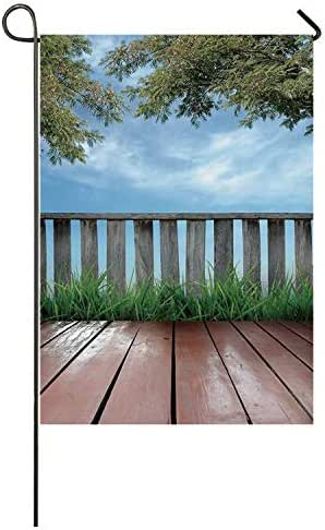 C COABALLA Patio Decor Utility Garden Flag,Wooden Seem Terrace Veranda with Olive Trees in Open Sky Photo for Home,40