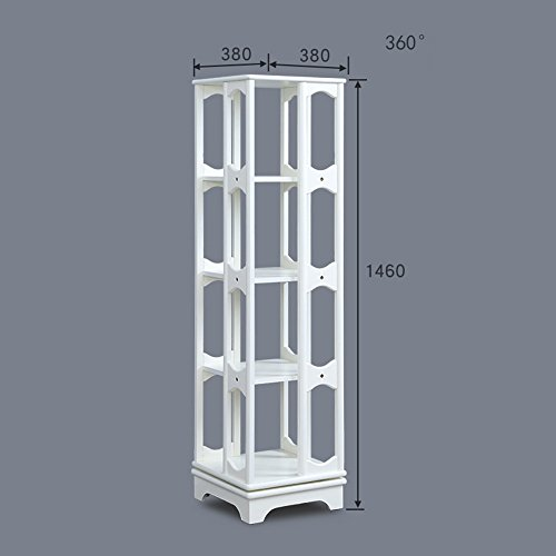 Shelves MEIDUO 4 Tier Bookshelf Revolving Bookcase,100% wood, 360 Rotating Organizer Cabinet Rack, Holds Up to 300 DVD's or books, spinning design, (Color : White)